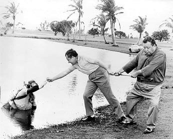 Gleason get ready to swimming Nixon
