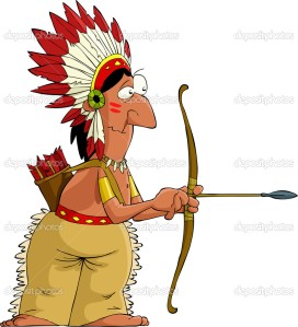 Cartoon indian Big-noses  rubbing chicken greases