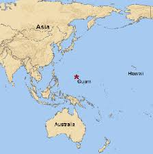 Map of Guam in the South Pacific.