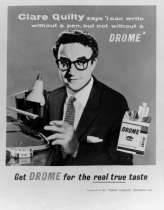 Peter Sellers as Clare Quilty in the poster ad for Drome cigarettes, Lolita.