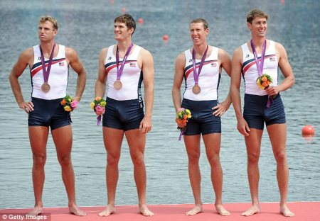 Whatever floats your boat  Henrik Rummel, second from left, stands proud with his.