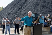 Or butt holes. Senate Minority Leader Mitch McConnell of Ky., a 30-year incumbent, greets people at a coal tipple operation, B&W Resources in Manchester, Ky., Monday, Oct. 27, 2014, during the final week before the crucial midterm election that could shift the balance of power in Congress. (AP Photo/J. Scott Applewhite)
