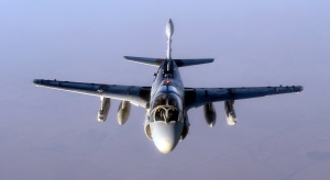 A U.S. Navy EA-6B Prowler supporting operations against ISIL, leaves after being refueled by a KC-135 Statotanker over Iraq, Oct. 4, 2014. The primary mission of the EA-6B Prowler is suppression of enemy air defenses in support of strike aircraft and ground troops by interrupting enemy electronic activity and obtaining tactical electronic intelligence within the combat area. (U.S. Air Force photo by Staff Sgt. Shawn Nickel)