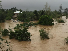 Flash flooding on the Pampanga River, Cabanatuan City in Philippines after typhoon koppu with damaging wind gusts