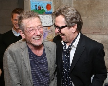 "From left, cast member John Hurt is greeted by actor Gary Oldman backstage after the opening night performance of ""Krapp's Last Tape"" at Center Theatre Group's Kirk Douglas Theatre on Wednesday, Oct. 10, 2012, in Culver City, Calif. (Photo by Ryan Miller/Capture Imaging)"