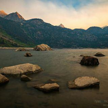 Smoke from the RoughFire creates a hazy look over a Lake Sabrina sunset in the Sierra