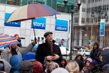 Author and journalist Matt Taibbi speaks to a crowd of Occupy Wall Street protestors after a march on the offices of pharmaceutical giant Pfizer, Wednesday, Feb. 29, 2012, in New York. There was a heavy police presence around the 42nd Street area as the demonstration began Wednesday morning outside. (AP Photo/John Minchillo)