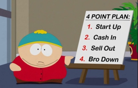 Cartman's 4 point business plan. Better go home, try to get sober.