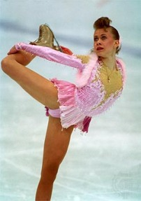 25 FEB 1994: OKSANA BAIUL OF THE UKRAINE IN ACTION IN THE WOMEN'S FIGURE SKATING AT THE 1994 LILLEHAMMER WINTER OLYMPICS. BAIUL TAKES THE GOLD. Mandatory Credit: Simon Bruty/ALLSPORT