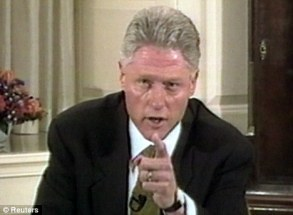 Denials. In one of the most famous broadcasts ever, President Clinton wagged his finger and sternly told a national audience he 'did not have sex with that ...(I was a t a bump)