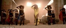 Teri London is seen second from right dancing behind Beyonce in