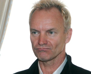 British musician Sting, of the rock band The Police, gestures as he is awarded membership of the order of Art and Letter by French Culture Minister Christine Albanel at the Culture Ministry in Paris, Monday, Oct. 1, 2007.(AP Photo/Michel Eulerl)  ORG XMIT: MEU105